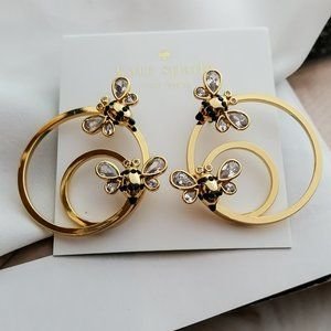 🌸 Kate Spade 🐝 Picnic Perfect Bee Hoop Earrings